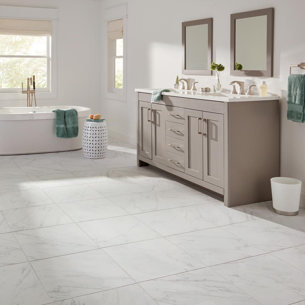 X 18 In Glazed Porcelain Floor, Home Depot Bathroom Floor Tiles