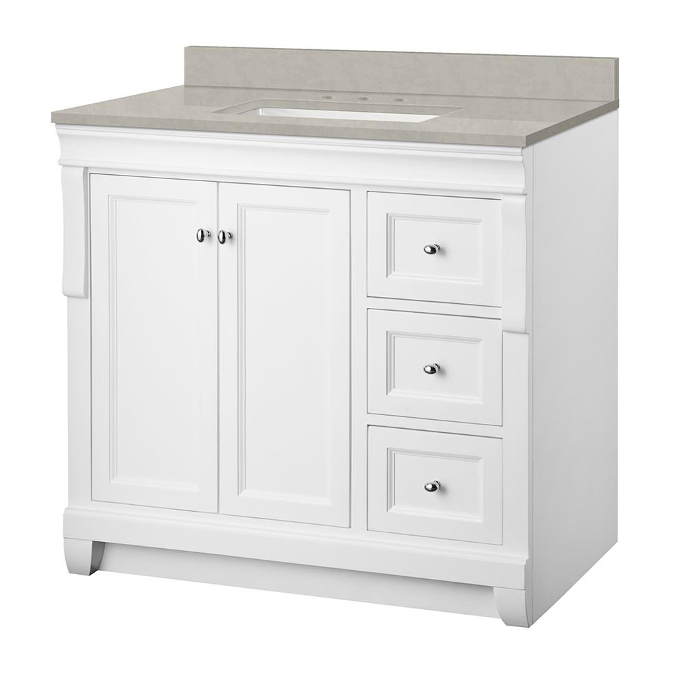 Home Decorators Collection Naples 37 in. W x 22 in. D Vanity Cabinet in White with Engineered Marble Vanity Top in Dunescape with White Sink