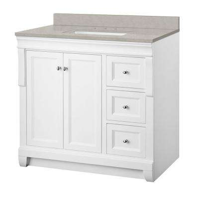 Naples 37 in. W x 22 in. D Vanity Cabinet in White with Engineered Marble Vanity Top in Dunescape with White Sink