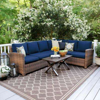 Dalton 5-Piece Wicker Outdoor Sectional Set with Navy Cushions