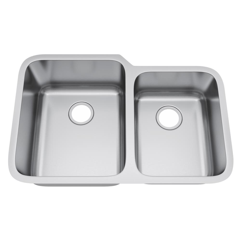 All-in-One Undermount Stainless Steel 32 in. 60/40 Double Bowl Kitchen Sink