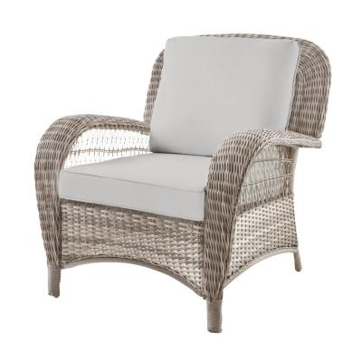 Beacon Park Gray Wicker Outdoor Patio Stationary Lounge Chair with CushionGuard Stone Gray Cushions