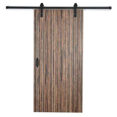 37 in. x 84 in. Timberworks 6318-NG Solid Core Wood Flush Barn Door with Sliding Door Hardware Kit
