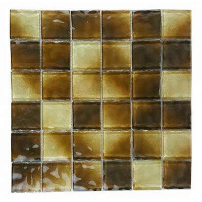 Watermark Open Field Brown Square Mosaic 2 in. x 2 in. Glossy Glass Mesh Mounted Wall and Pool Tile (0.8 Sq.Ft)
