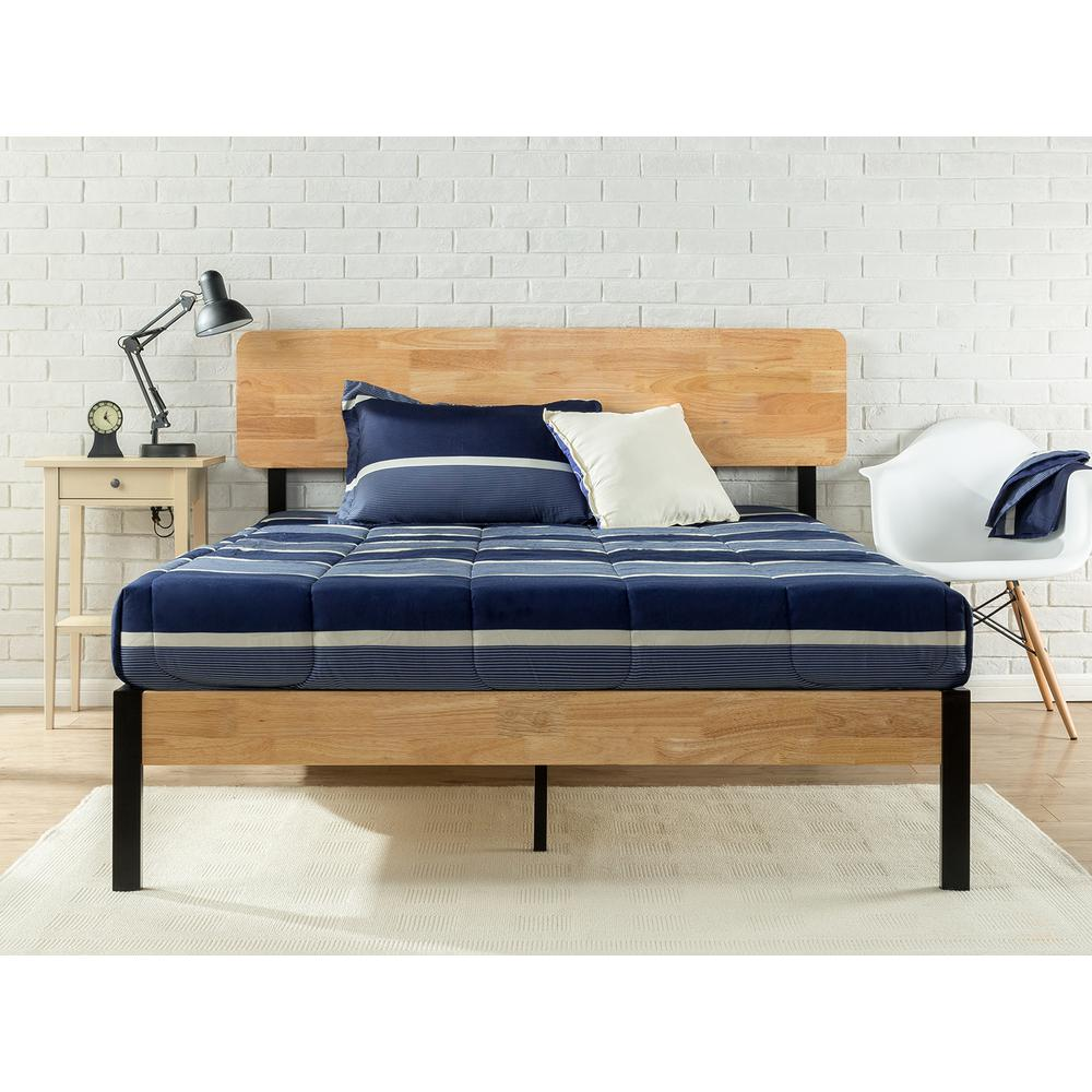 Zinus Tuscan Metal and Wood Black Queen Platform Bed
