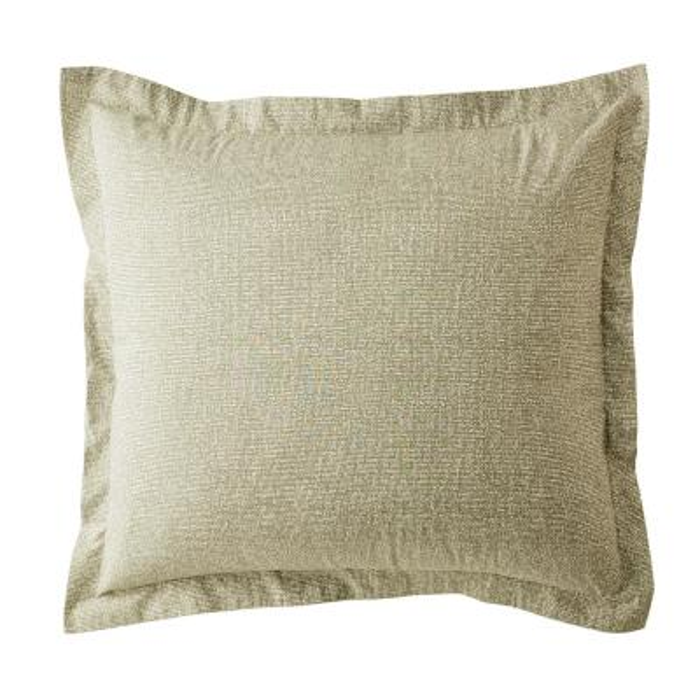 LoftHome Maze Khaki Geometric 200-Thread Count Organic Cotton Percale Euro Sham