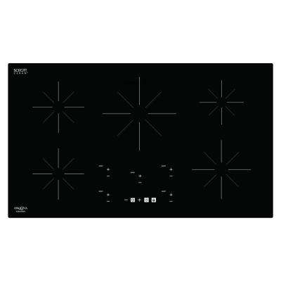Chef 36 in. Glass-Ceramic Induction Cooktop in Black with 5 Elements Featuring Individual Boost Function