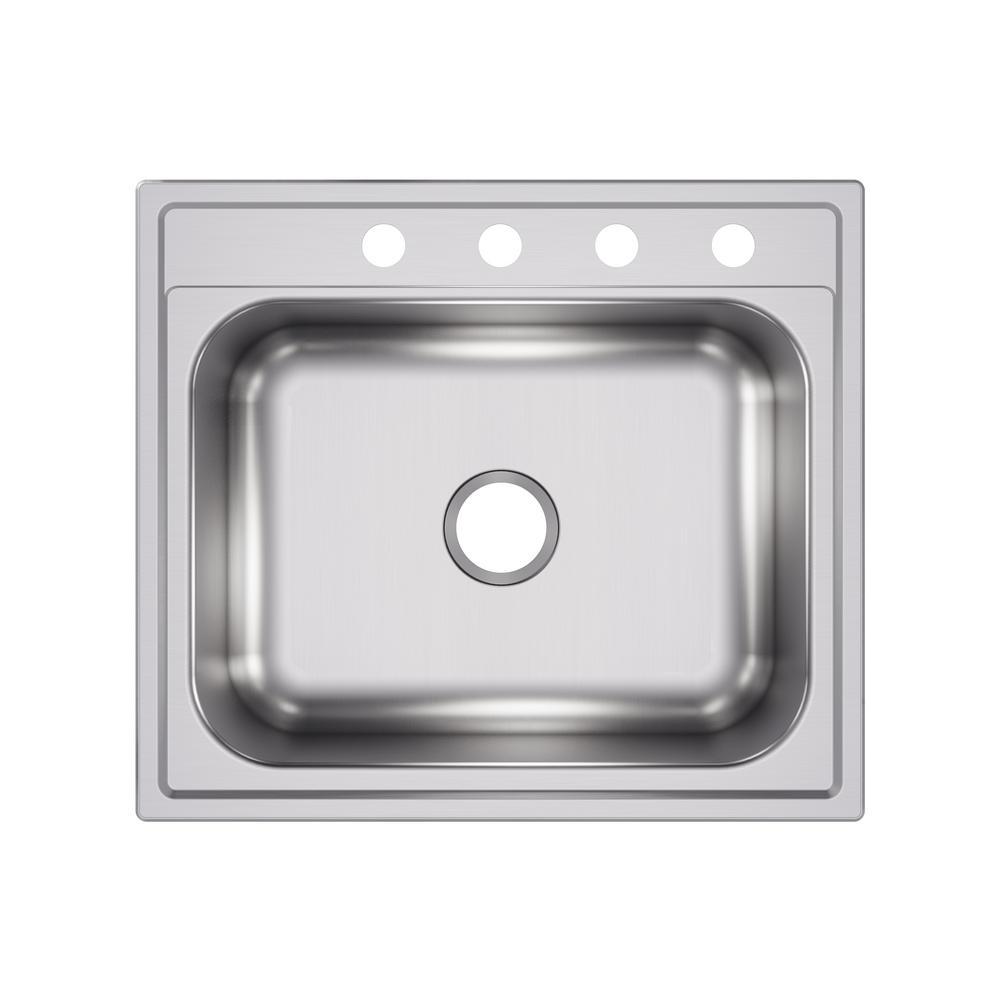 Elkay Drop-In Stainless Steel 25 in. 4-Hole Single Bowl Kitchen Sink ...