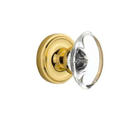 Classic Rosette Double Dummy Oval Clear Crystal Glass Door Knob in Polished Brass