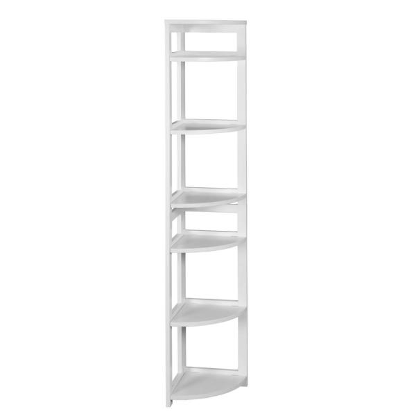 Niche Flip Flop White 6-Shelf Corner Folding Bookcase