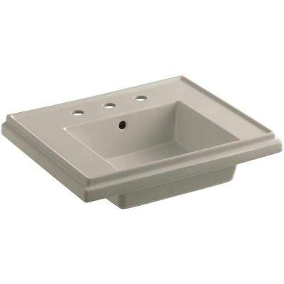 Tresham 24 in. Fireclay Pedestal Sink Basin in Sandbar with Overflow Drain