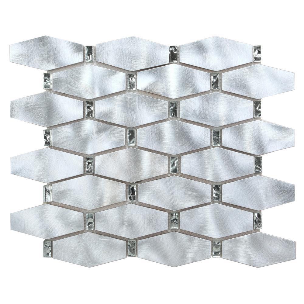 CHENX 12.20 in. x 14.96 in. x 8 mm Aluminum Metal Glass Backsplash in Silver/Clear (13.94 sq. ft. / case)