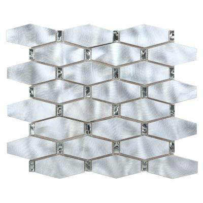 CHENX 12.20 in. x 14.96 in. x 8 mm Aluminum Metal Glass Backsplash in Silver/Clear (13.94 sq. ft. / case)