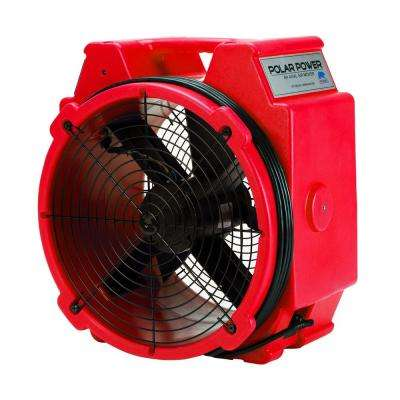 PB-25 1/4 Polar Axial Blower Fan High Velocity Air Mover for Water Damage Restoration in Red