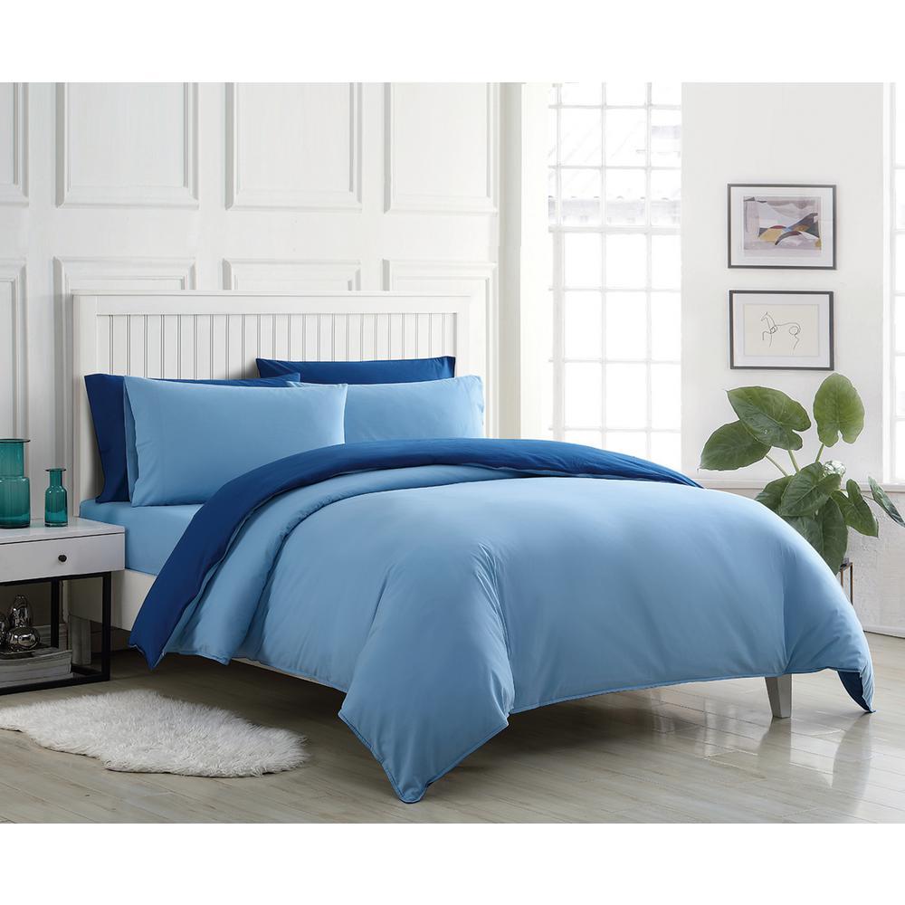 Audrey Blue 2-Piece Solid Cotton Twin Duvet Set