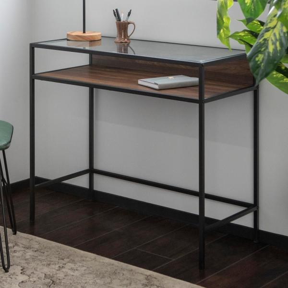 Super Walker Edison Furniture Company 35 In Dark Walnut Metal And Interior Design Ideas Skatsoteloinfo