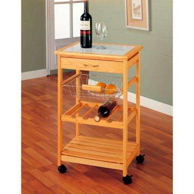 Natural Kitchen Cart With Wine Rack