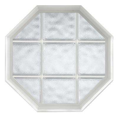 26 in. x 34 in. Acryilc Block Fixed Octagon Geometric Vinyl Window in White