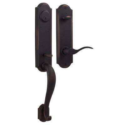 Molten Bronze Single Cylinder Oil-Rubbed Bronze Left-Hand Stonebriar Door Handleset with Carlow Lever