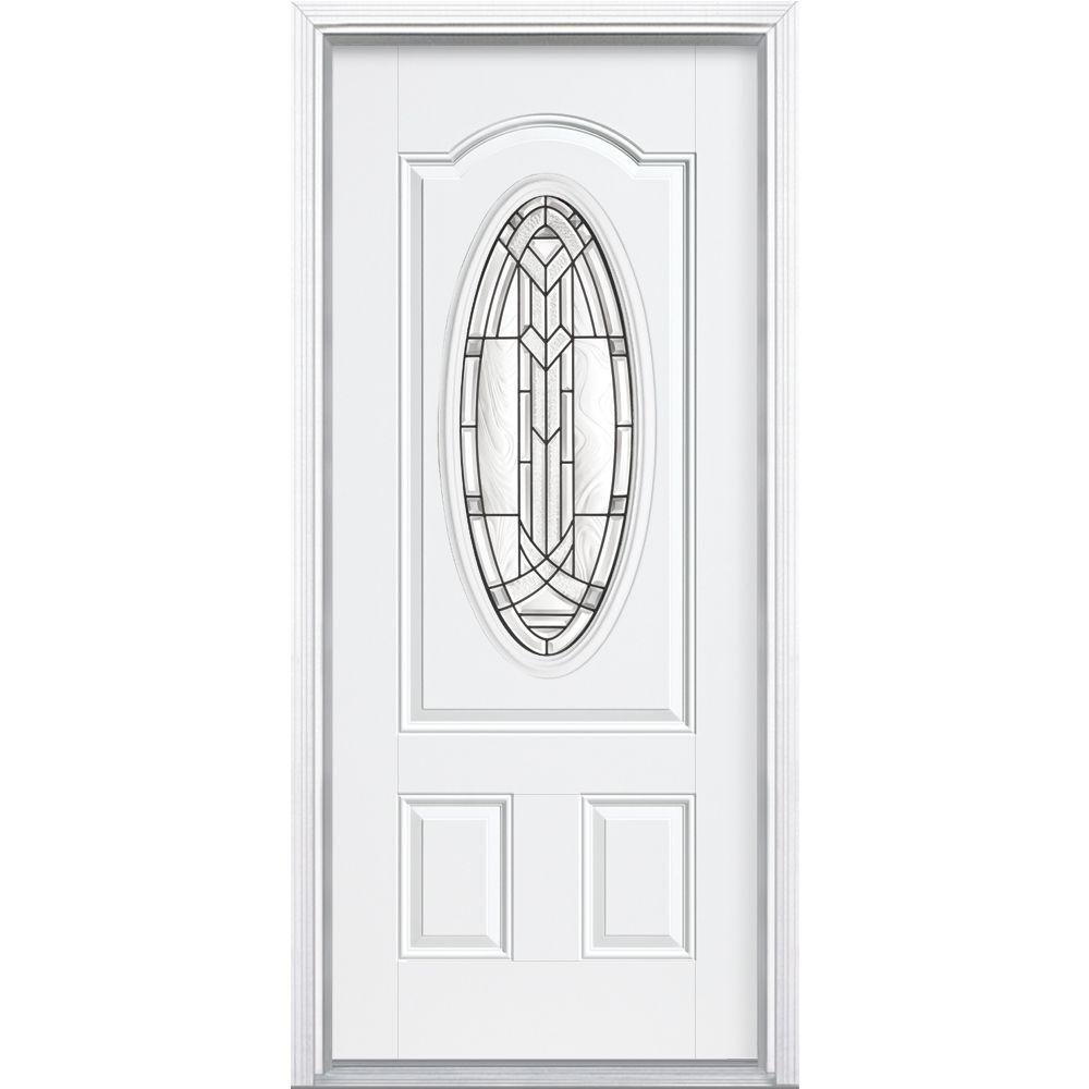 36 in. x 80 in. Chatham 3/4 Oval Primed White Right-Hand