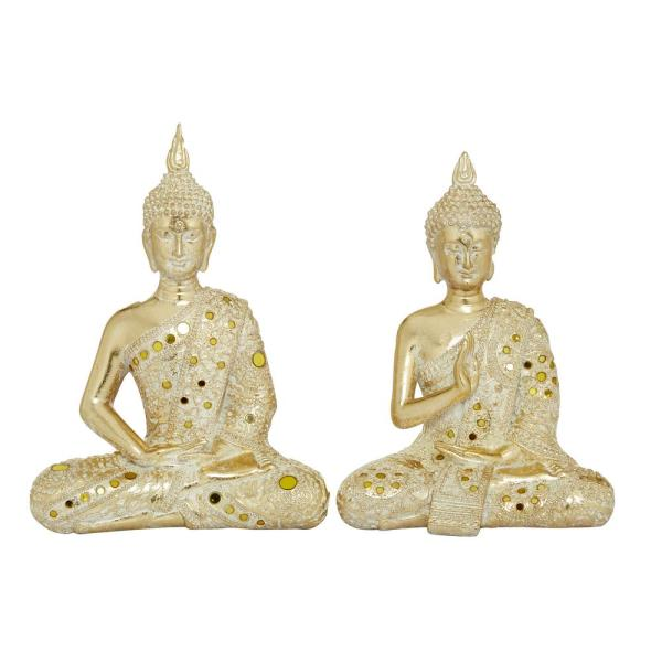 Gold Polystone Sitting Buddha Sculptures, Set of 2: 10 in., 11 in.