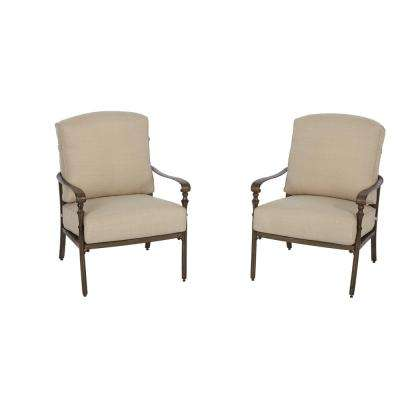 Cavasso Stationary Metal Outdoor Lounge Chair with Oatmeal Cushions (2-Pack)
