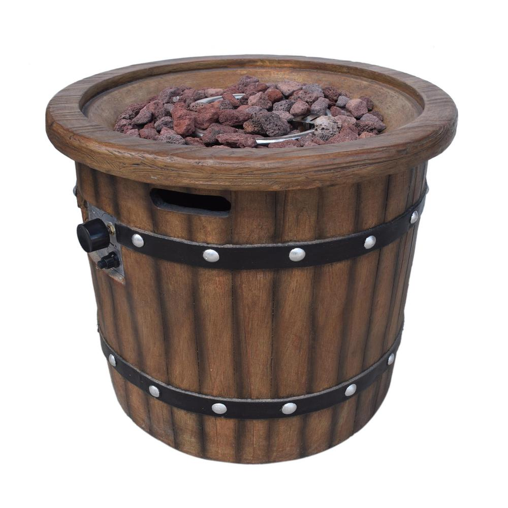 Noble House Quincy 25 in. x 24 in. Circular MGO Propane Fire Pit in Dark Brown