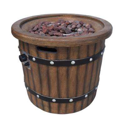 Quincy 25 in. x 24 in. Circular MGO Propane Fire Pit in Dark Brown