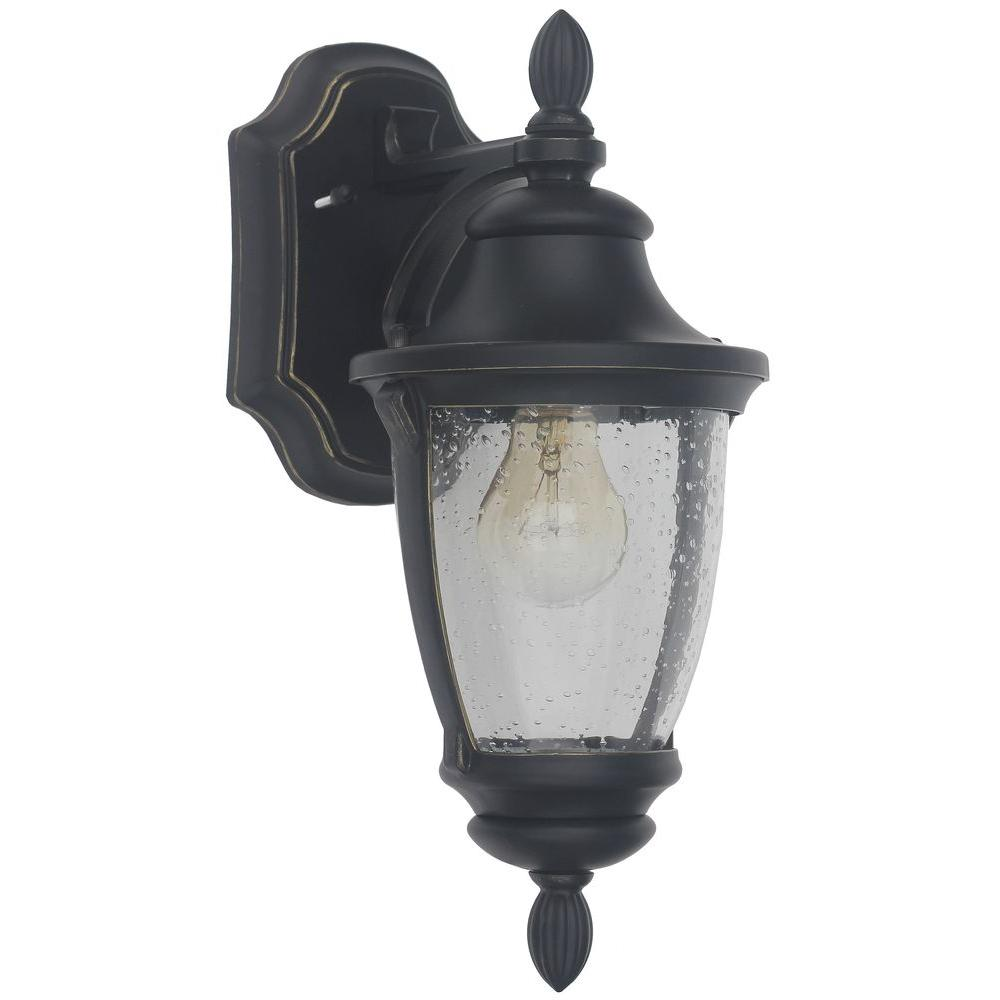 Wall Mounted Black Lights : Home Decorators Collection Wilkerson 1-Light Black Outdoor Wall Mount-23453 - The Home Depot