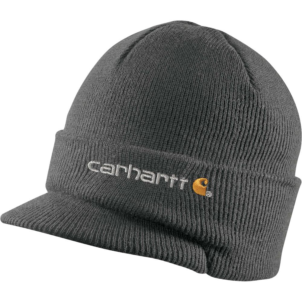 bb3eee08c14ae4 Carhartt Men's OFA Coal Heather Acrylic Knit Hat with Visor-A164-CLH ...