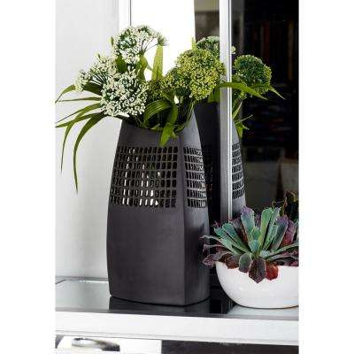 Black Ceramic Decorative Vase with Triangular Body and Square Cutout Design