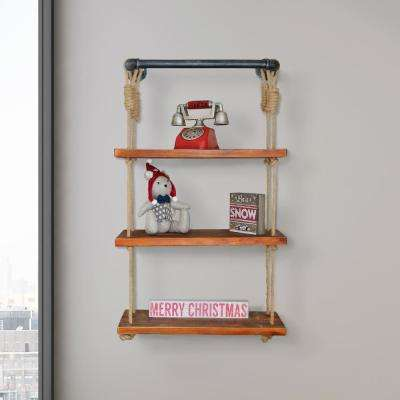 Copenhagen Industrial Modern Pipe Wall Shelf with Walnut Wood and Adjustable Rope