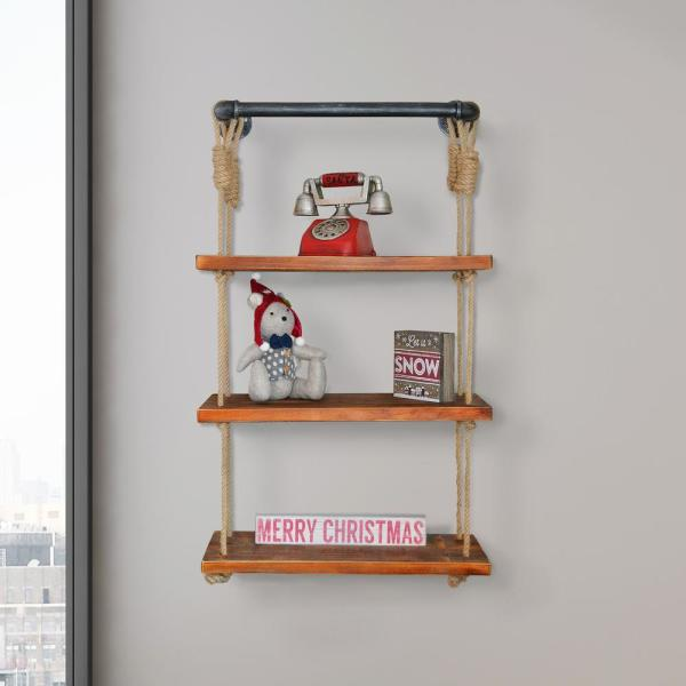 Today's Mentality Copenhagen Industrial Modern Pipe Wall Shelf with Walnut