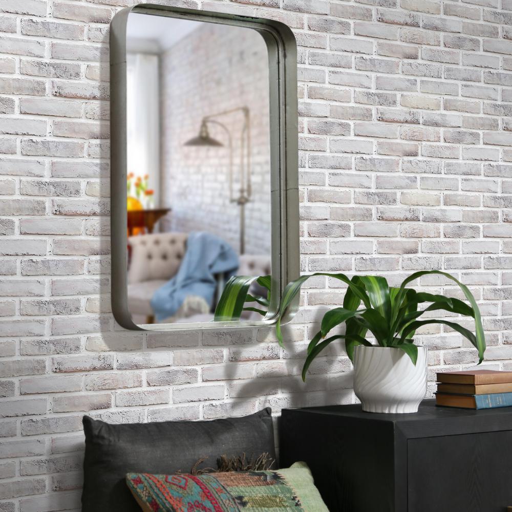 Rectangular Silver Metallic Wall Mirror