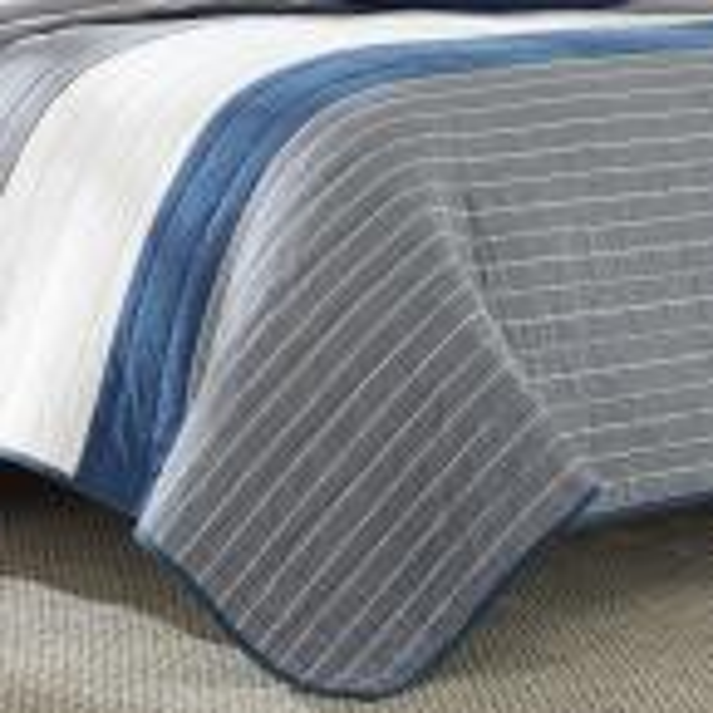 Nautica Swale Dark Blue Stripe King Quilt