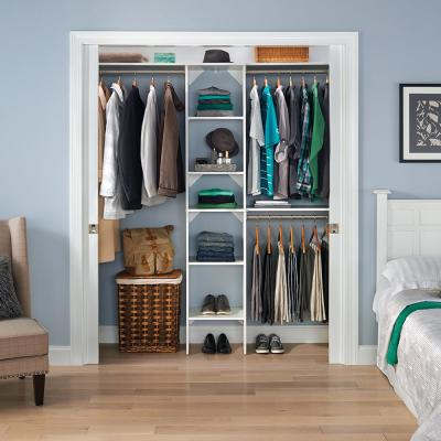 Style+ 72 in. W - 113 in. W White Narrow Wood Closet System