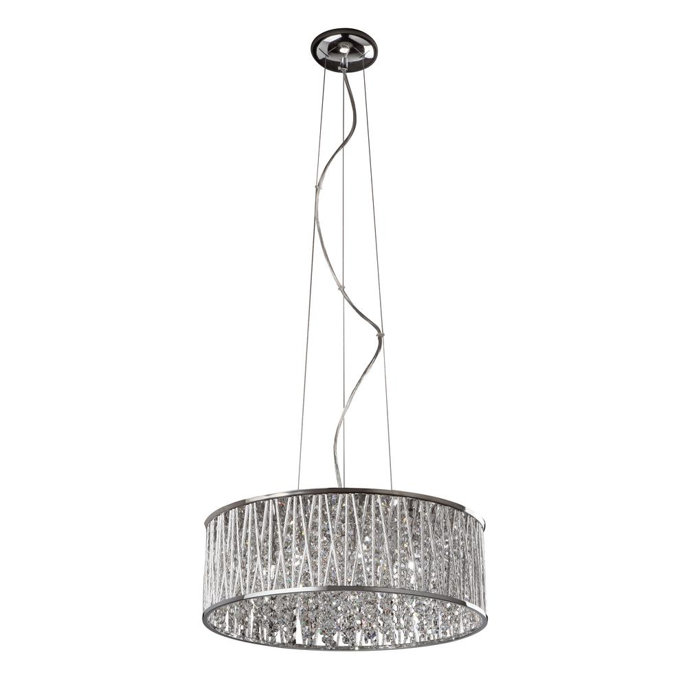 Bel Air Lighting 7-Light Polished Chrome Pendant with Crystals