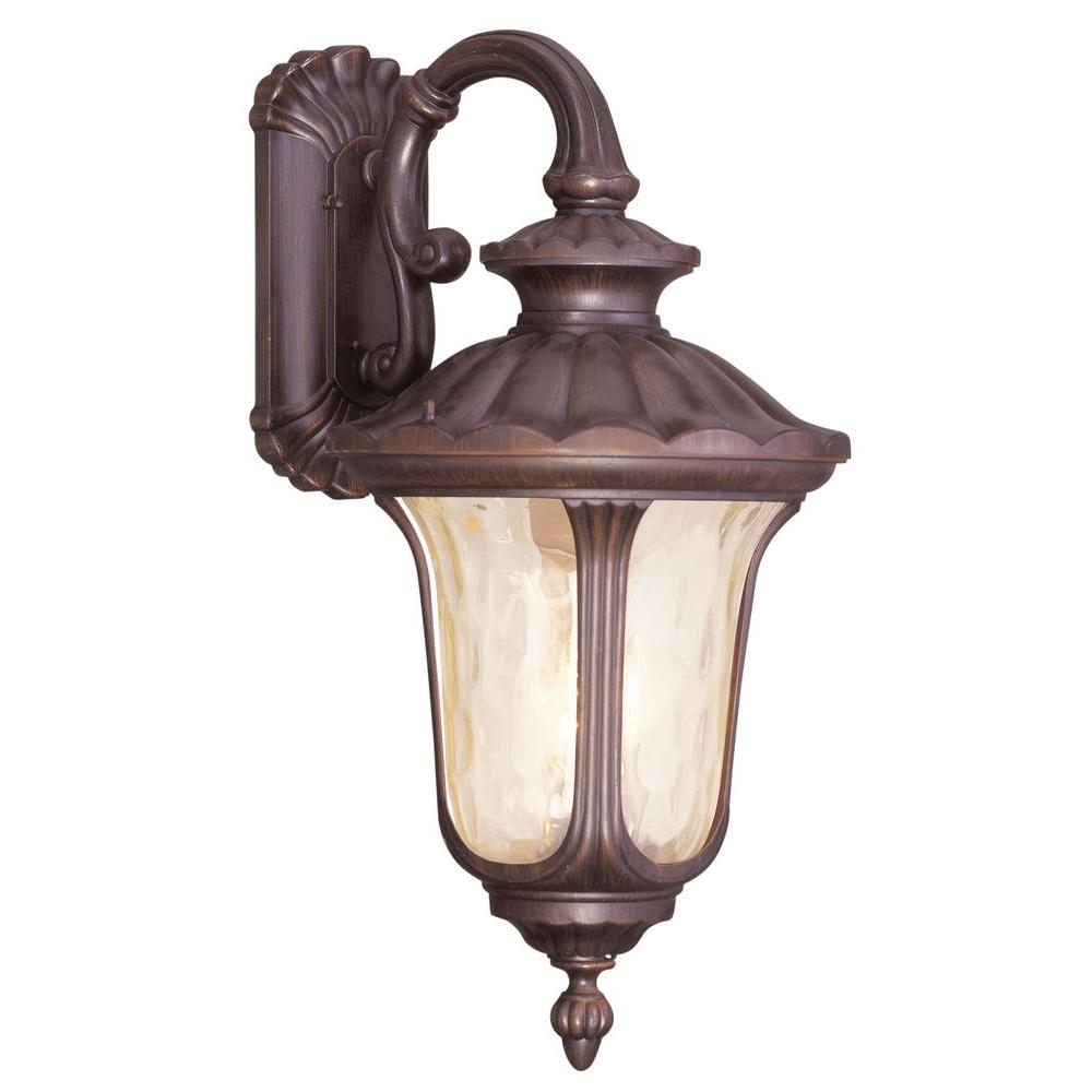 Livex Lighting 3-Light Bronze Outdoor Wall Lantern with Light Amber Water Glass