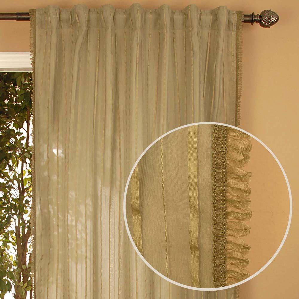 Home Decorators Collection Sheer Stripe Sheer Sage Curtain-DISCONTINUED