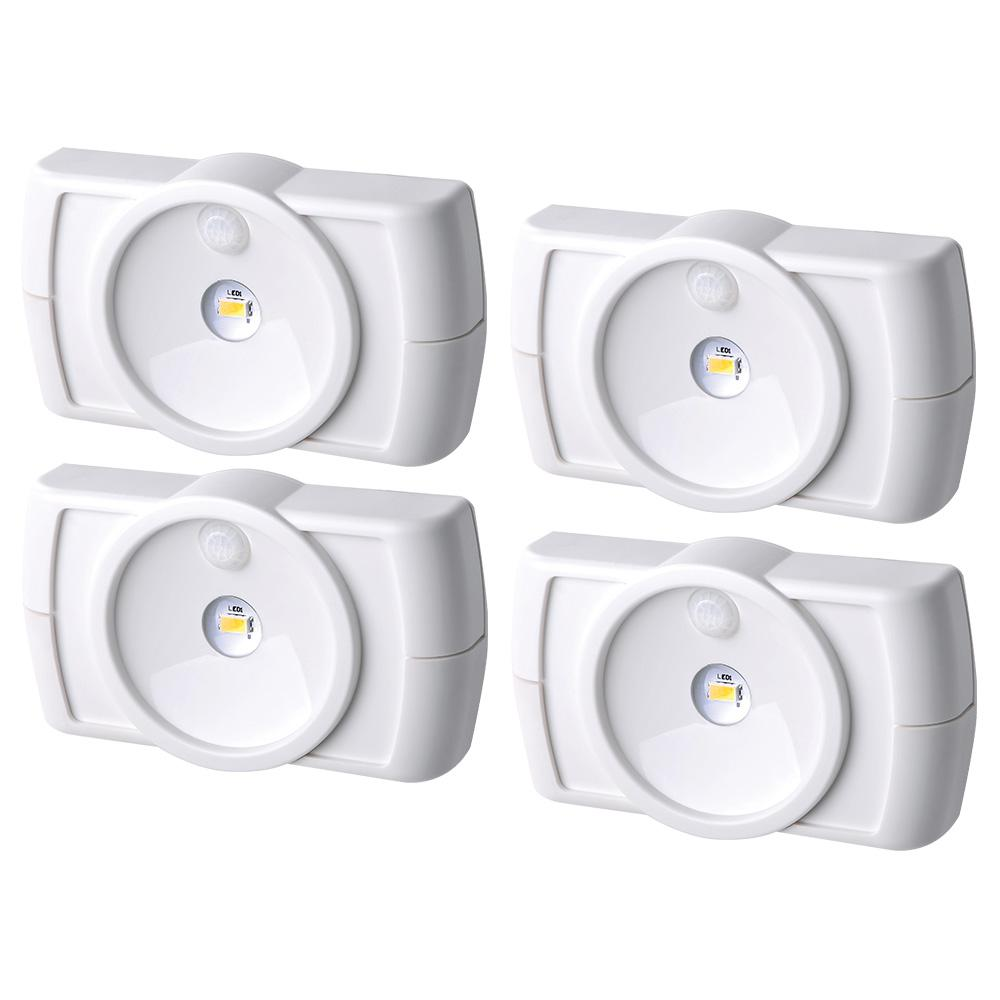 Wireless Motion Activated LED Slim Task Night Light in White (4-Pack)