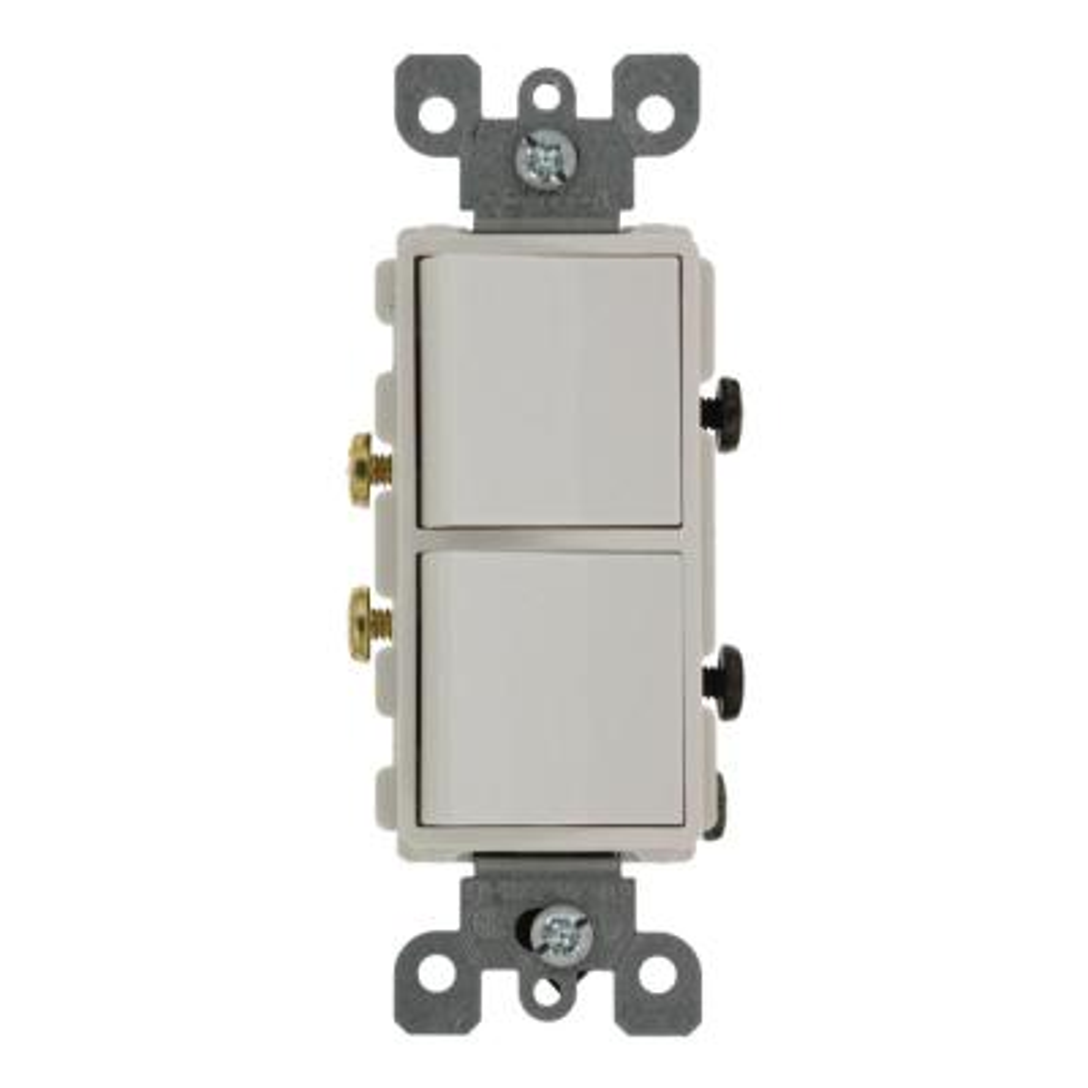 20 Amp Decora Commercial Grade Combination Two Single Pole Rocker Switches, White