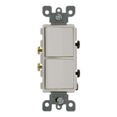20 Amp Decora Commercial Grade Combination Two Single Pole Rocker Switches, White