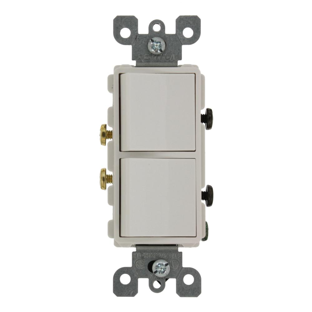 Leviton 20 Amp Decora Commercial Grade Combination Two Single Pole ...