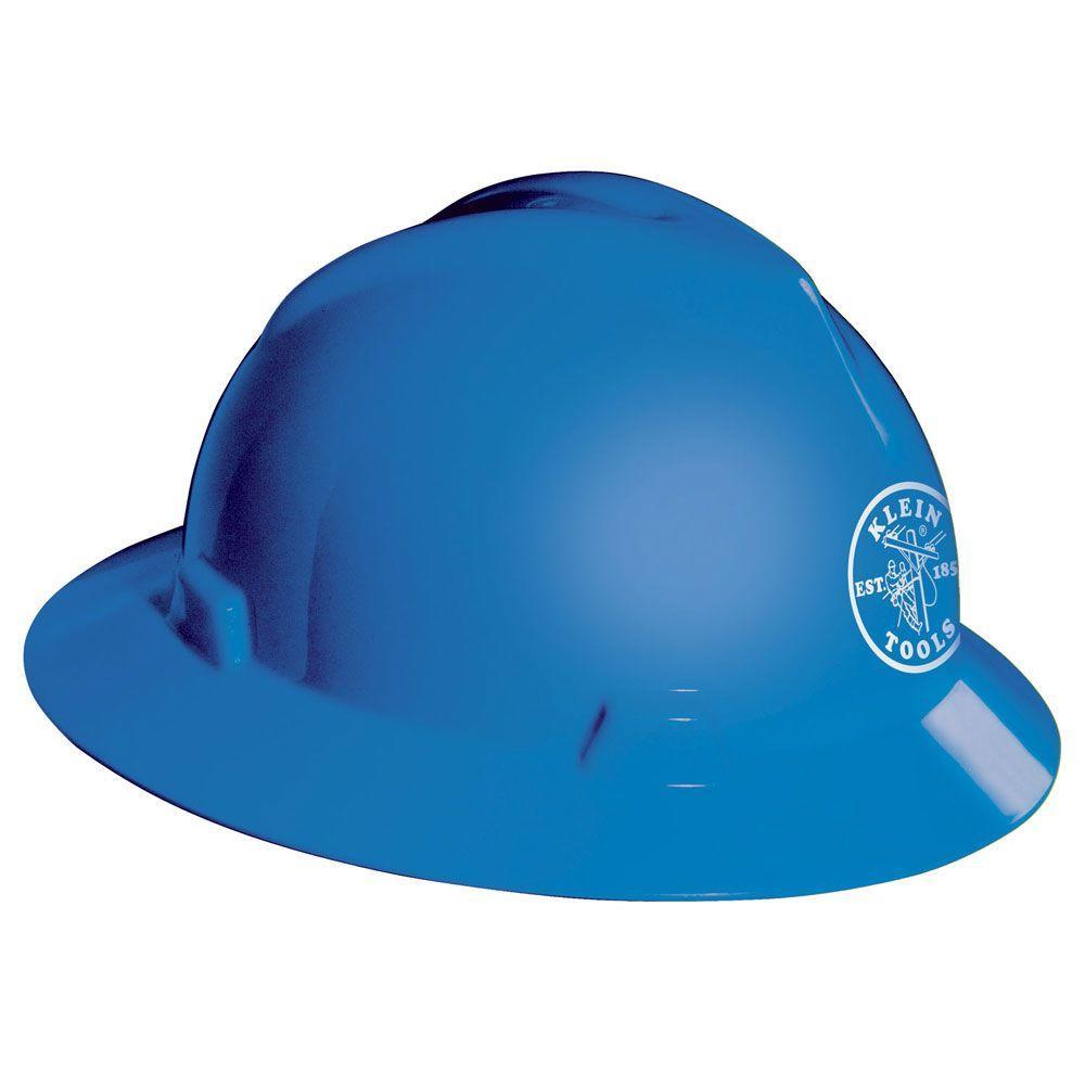 null V-Gard Hard Hat, Blue, with Klein Lineman Logo