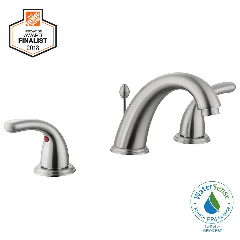 Builders 8 in. Widespread 2-Handle High-Arc Bathroom Faucet in Brushed Nickel
