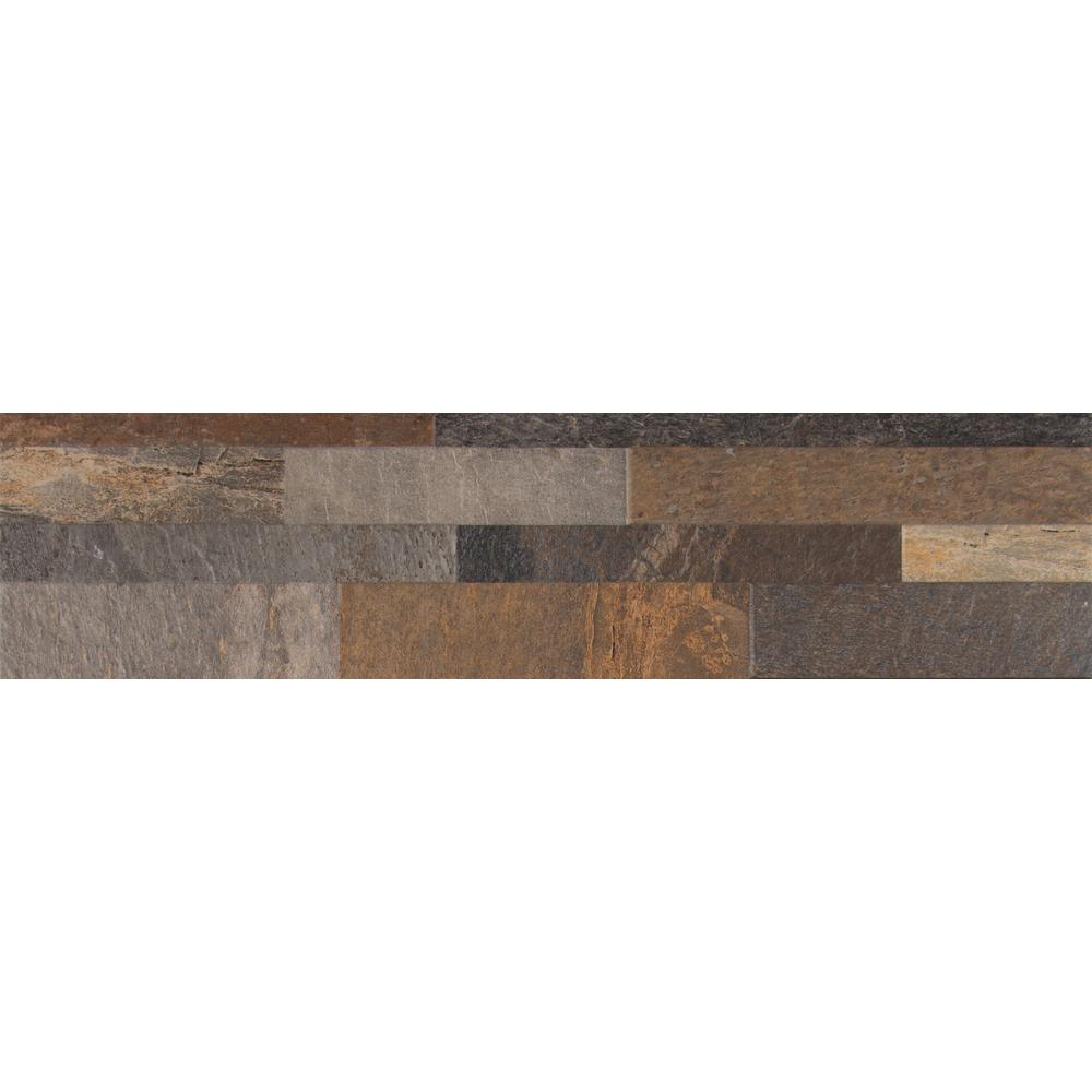 Mountain Rust Ledger Panel 6 in. x 24 in. Glazed Porcelain