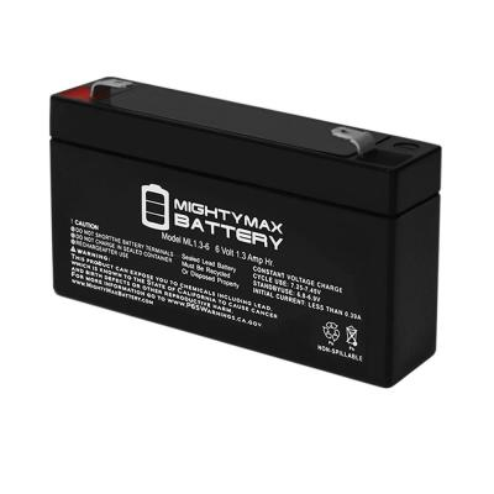6-Volt 1.3 Ah Sealed Lead Acid (SLA) Battery F1 Terminal Includes 6-Volt Charger