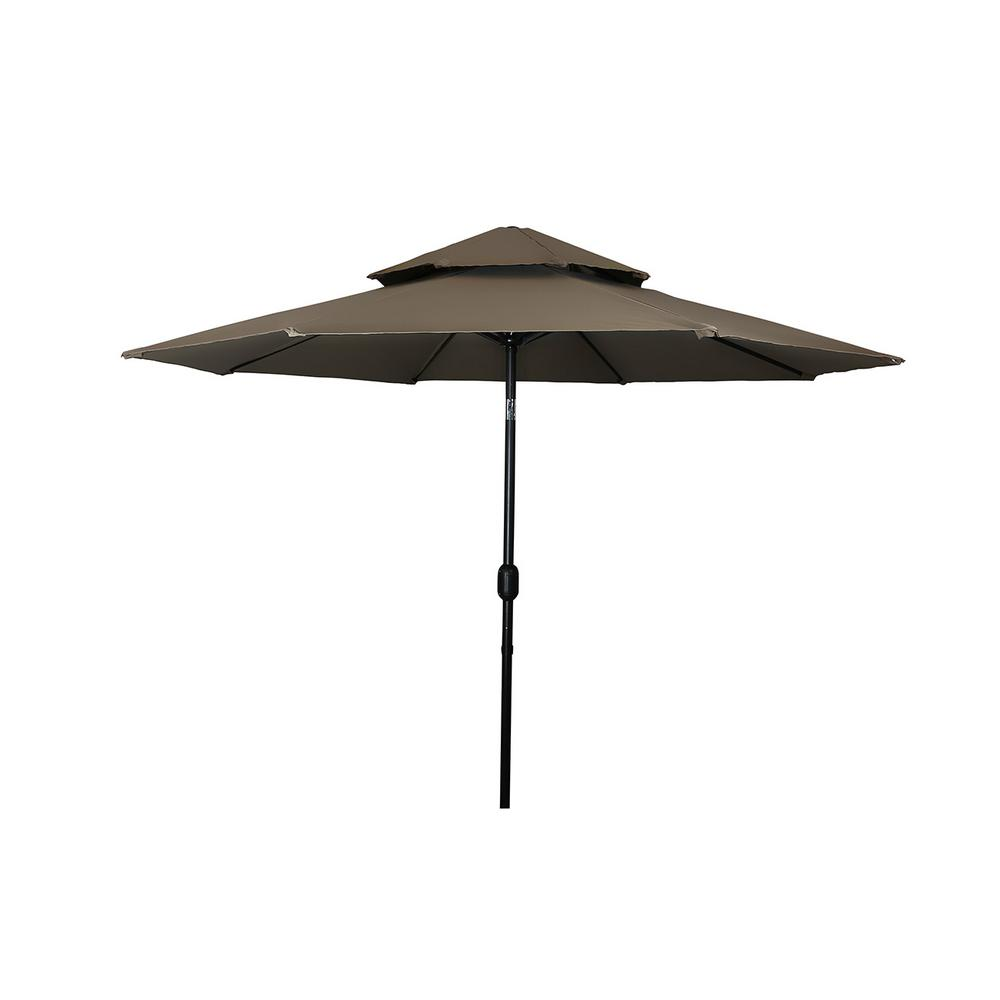 Delicieux Sturdy Steel Frame 2 Tier Pagoda Style Market Patio Umbrella