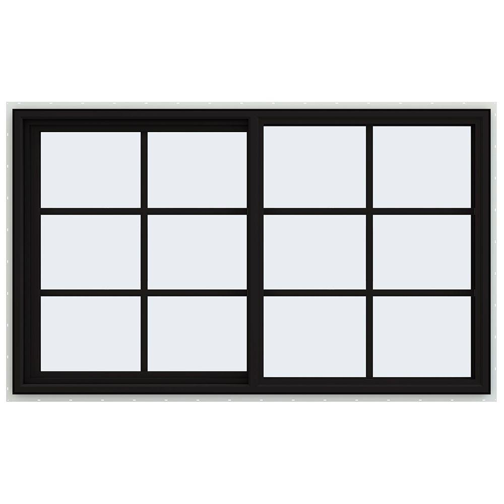 JELD-WEN 60 in. x 36 in. V-4500 Series Black FiniShield Vinyl Left-Handed Sliding Window with Colonial Grids/Grilles