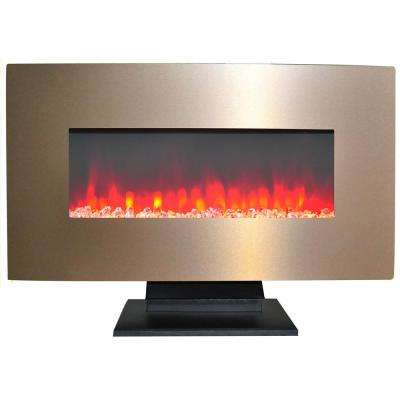 36 in. Metallic Electric Fireplace in Bronze with Multi-Color Crystal Rock Display